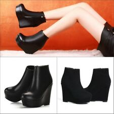 Women Leather Suede Ankle Boots Round Toe Creepers Wedge High Heel Shoes US4.5-9