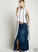 NEW Free People Patchwork Denim Maxi Skirt Frayed Hem Center Slit 29