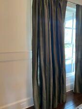 5 Pottery Barn Silk Drape Panels Pole Top 50X96 Green