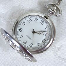 Quartz Pocket Watch Silver Tone on Necklace Chain