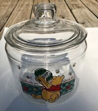 """Glass Winnie The Pooh Cookie jar """"Smackerals Are Calorie-free�"""