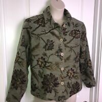 Vintage Coldwater Creek Sage Green Tapestry Jacket Size PXL Floral Made in USA