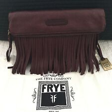FRYE Heidi Fringe Crossbody Bag Plum Burgundy Wine Red LEATHER Boho NEW *RARE*