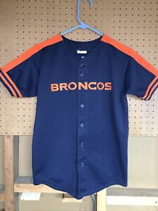 Denver Broncos NFL Majestic Button Down Jersey Football Youth Size Large