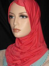 New Deep Coral lycra hijab 1 piece abaya Islam scarf chemo head cover scarf A+