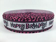 """BTY 1"""" Cute Printed Pink Happy Birthday Grosgrain Ribbon Hair Bows Lisa"""