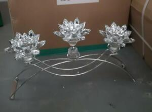 3 Tier Lotus CANDLE HOLDER Crushed Diamond Silver Crystals Filled Romany Bling