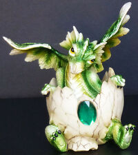 """Emerald Birthstone Dragon in Egg Shell May Figure Statue H5.5"""""""