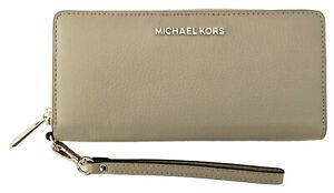 Michael Kors Purse Wallet Wristlet Cement Grey Pebbled Leather Large Zip Around