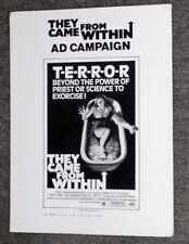 THEY CAME FROM WITHIN/SHIVERS original 1975 pressbook DAVID CRONENBERG