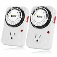 2PACK iPower 24 Hour Plug-in Mechanical Electric Outlet Timer 15 Minute Interval