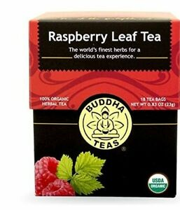 Buddha Organic Raspberry Leaf Tea, 18 Bleach-Free Tea Bags – Caffeine Free Tea