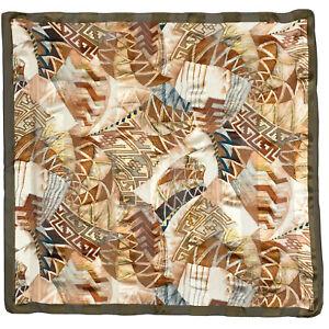LA FENICE GEOMETRIC GREEN LARGE silk Scarf  36/34 in #A111