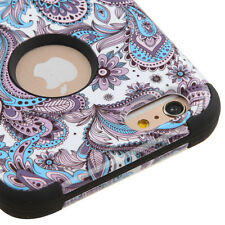 For iPhone 6 / 6S - HARD&SOFT RUBBER HYBRID ARMOR CASE PURPLE BLUE SWIRL FLOWERS
