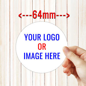 Personalised Round Stickers Labels LARGE - Custom Logo Business Shipping 64MM