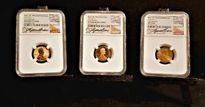 2019 W LINCOLN CENT LYNDALL BASS SIGNED RARE 3 COIN SET!  (1) MS 70 (2) PR 70