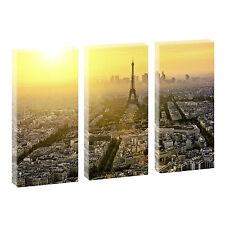 Paris Bild auf Leinwand Kunstdruck Poster Wandbild 3-Teiler-je 40 cm*80 cm 089