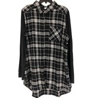 Make + Model Womens Button Front Shirt Black Plaid Long Sleeve Pocket XXL New