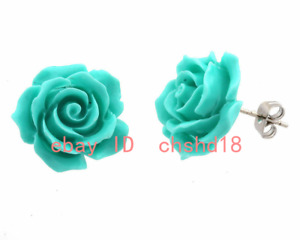 Charming Fashion Jewelry Coral Turquoise blue Sterling Stud Earrings