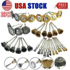 36pcs Wire Steel Brass Brushes Polishing Brush Wheels Set for Dremel Rotary Tool