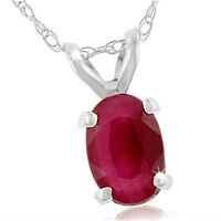 "14K WHITE GOLD 0.6CT OVAL SHAPED GENUINE RUBY PENDANT W/18"" CHAIN"