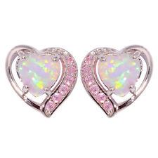 Heart Pink Fire Opal Pink Topaz Silver Women Jewelry Gems Stud Earrings OH4272