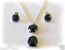 925 Silver Pendant & Earrings Set Black Cubic Zirconi