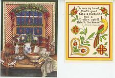 1 CHRISTMAS SNOW GINGERBREAD CARD 1 AUNT ANNA CHERRY PUDDING RECIPE ART PRINT