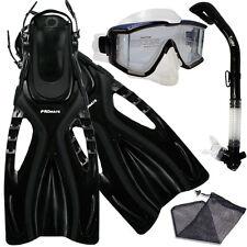 Promate Snorkeling Panoramic Purge Dive Mask Dry Snorkel Fins Equipment Gear Set