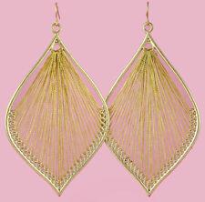 T1329 Gold Thread Earrings Leaf Hook Fashion Girl/Lady Dangle Jewelry
