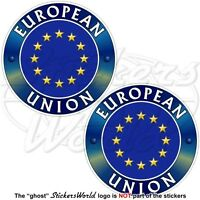 "Europe EUROPEAN UNION Flag-Emblem EU 75mm (3"") x2 Vinyl Bumper Decals Stickers"