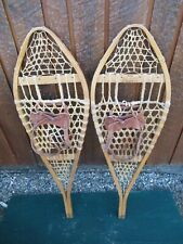 """VINTAGE Snowshoes 42"""" Long x 14"""" + Leather Bindings Wide Great for DECORATION"""