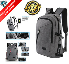 Mancro Business Water Resistant Polyester Laptop Backpack with USB Charging Port