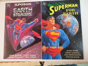 SUPERMAN PRESTIGE FORMAT EARTH STEALERS, FOR EARTH - 2 BOOK LOT !-1988-DC COMICS