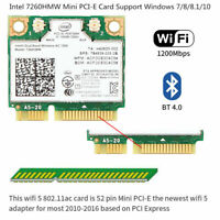 Intel Wireless AC 7260HMW Network Card Mini PCIE Wifi Adapter Bluetooth 4.0 Card