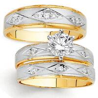 14K Two Tone Gold Simulated Diamond Trio Engagement Wedding Band Bridal Ring Set