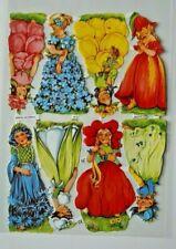Poesiebilder Oblaten 7141 Glanzbilder Blumen Mädchen  Ernst Freihoff §118