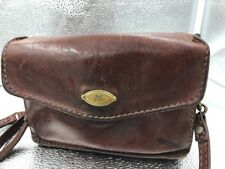 Vintage The Bridge Brown Leather Bag Flapover Small Shoulder Cross Body Italian