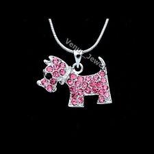 Dog Pendant Necklace P278 Rose Pink Rhinestone Crystal Puppy