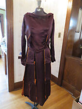 Antique 1920s Maroon Silk Dress with built-in Under Garment - Flapper Style