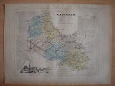 CARTE départementale PAS DE CALAIS vers 1880 Arras Bethune Boulogne Saint Omer