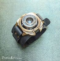 Photograph Steampunk Bracelet, Lens, Hipster, Cuff Bracelet, Genuine Leather
