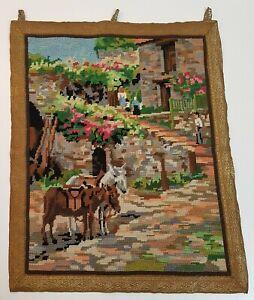 Vintage Completed Needlepoint Romantic Greek Hillside Village with Donkeys