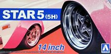 "Aoshima 1/24 Star 5 (5H) 14""  Wheel Rims & Tire Set for Models 5439 (68)"