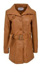 Womens Real Leather Trench Coat Fitted Cut Mid Length Classic Style Shania Tan