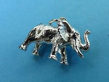 Vintage silver 3D African Asian Elephant Trunk Up Good Luck charm #F Last One