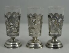Three (3) Mexican Sterling Silver Wrapped Cordials Scalloped Rose (Taxco Mexico)