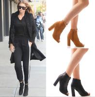 Ladies Women High Block Heel Zipper Peep Toe Sandal Ankle Boot Sandal Shoes Size