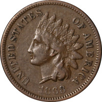 1868 Indian Cent Choice VF+ Superb Eye Appeal Strong Strike