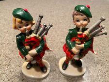 "Vintage Lefton Scottish Boy Girl Figurines Bagpipes Kilts Plaid 6.5"" Tall"